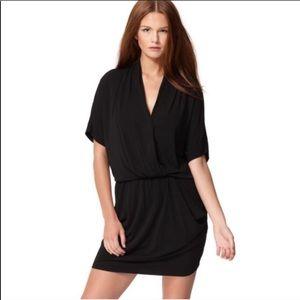 Rachel Roy Knit Drape Black Dress w/ Pockets L